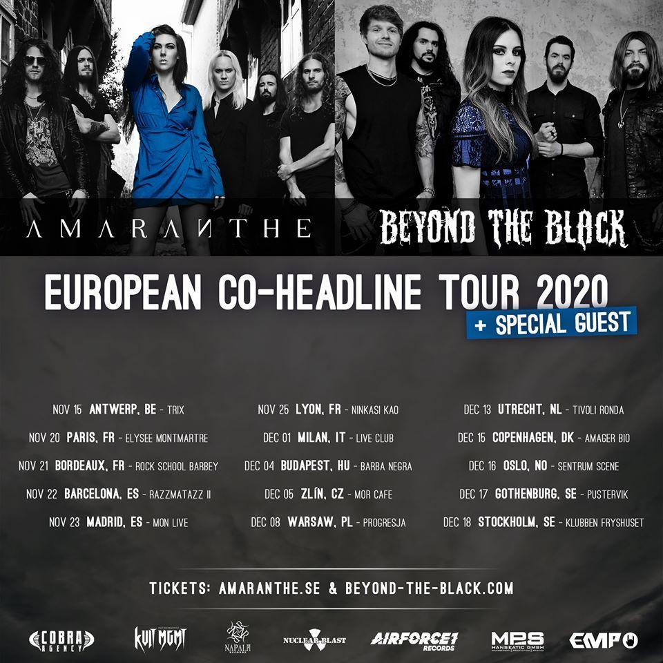 Amaranthe beyond the black coheadline european tour 2020 1