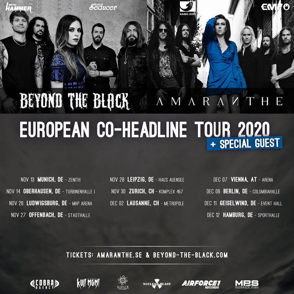 Amaranthe beyond the black coheadline european tour 2020 2