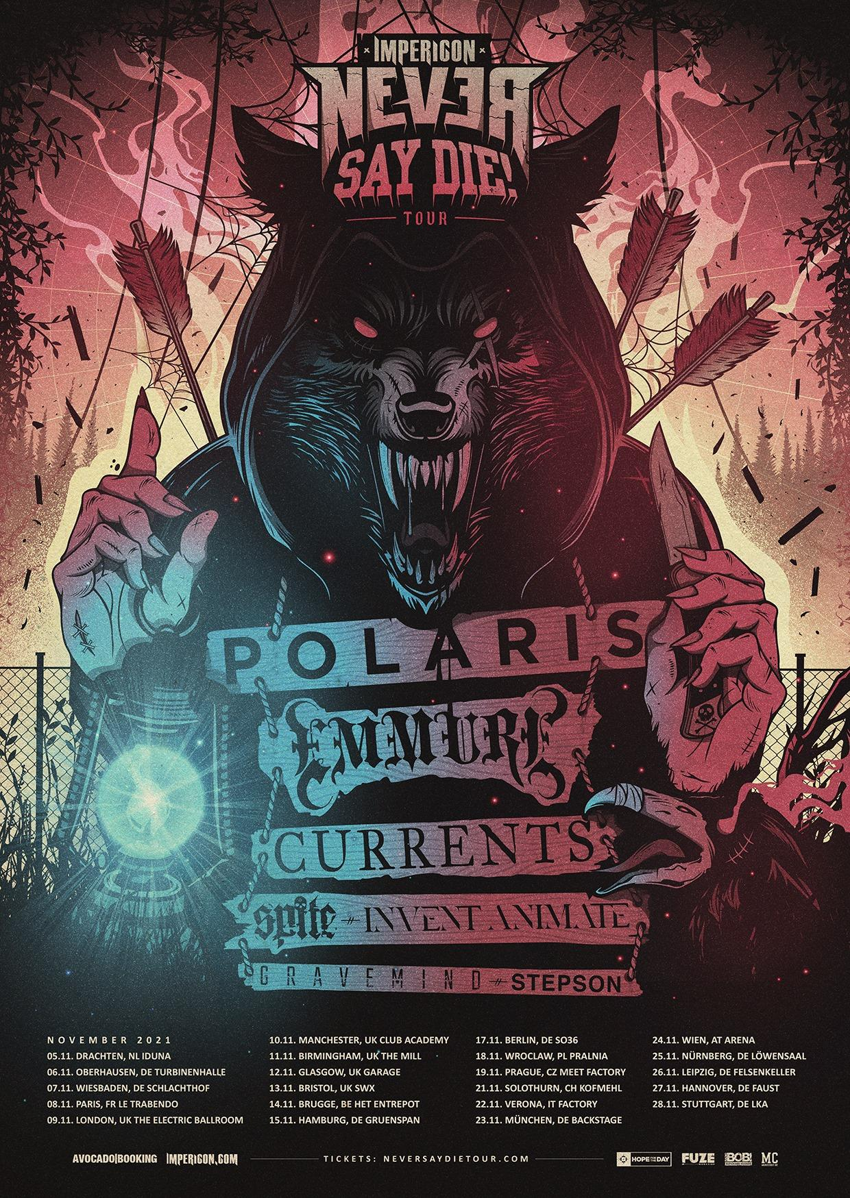 Impericon never say die tour 2021 affiche
